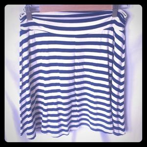 Fun blue and white striped skirt